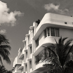 The Andy Moine Company LLC - Miami Beach Art Deco Buildings Miami Florida Fine Art Black & White Photography, - Black and White Fine Art Photography captured with 35MM Ilford Film and reproduced in Limited Editions on Canvas OR Brushed Aluminum. This is a picture featuring the Beautiful Art Deco Architecture & Palm Trees that line Ocean Avenue in South Beach, Miami - Florida.
