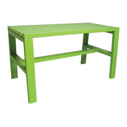 STAACH - Slatted Bench 1, Green - Designed by Seth Eshelman. Part of the Cain Collection. All finishes are Lead-free, HAPS free, low to no VOC and water borne/soluble.