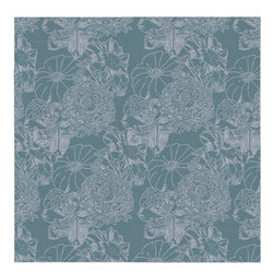 Guildery - Engraved Flowers Fabric: Bottle - Fabric by the yard for your custom sewing or upholstery projects. Fabric is sold in full-yard increments.
