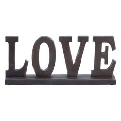 """Benzara - Wooden """"Love"""" Table Top with Intricate Detailing - If you want to add a personal touch to your room then this wood table top is a must have. You can reflect your tasteful choice in art and fashion through this table top. You can add a splash of sophistication to your living space with this wood table top. Shaped as the word G��Love', this table top can be placed on the mantle to enhance your interior decor. Intricately crafted by skilled craftsmen, this table top is a perfect addition to your living space and your bedroom. This decorative item subdues the ambience and personalizes your space. Made out of wood, this table top is durable in make and sturdy in construction. The earthy color of the table top adds a hint of rustic mien to your contemporary decor. It is an excellent gifting option on special occasions..; Made out of wood; Sturdy in construction; Intricate detailing; A good gifting option; Weight: 2.21 lbs; Dimensions:18""""W x 3""""D x 8""""H"""