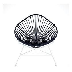 Acapulco Chair, White Frame, Black - The vinyl cords in this chair make a comfy resting spot inside or outside of your home. The classic design is weather proof and easy to clean with just a wipe of a cloth or spray of the hose. Pick from a rainbow of colors or stick with the iconic black and white design and you can't go wrong.