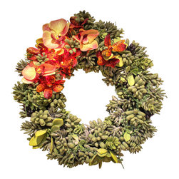The Firefly Garden - Agave - Illuminated Floral Design - Introduce a unique illuminated Succulent Wreath to your home. Composed of varietals such as Echeveria, Dudleya and Agave, this lighted wreath is accented with Orchids to add a floral contrast to a door, window, or entry.