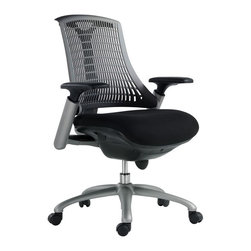 VIG Furniture - Modrest Innovation Modern Grey Office Chair - The design of this modern office chair is based on the creator's passion and user's taste. This mesh office chair is a great accompaniment to any desk. It has a high back rest that will support the back and keep you comfortable for hours at end. With this office chair, you can rest assured that your work will be your top priority.