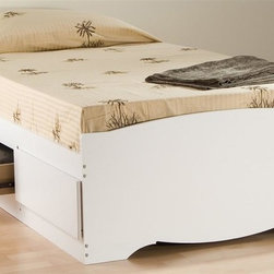 Prepac - Twin Platform Bed in White Finish - Includes three drawers. Drawers for keeping your linens, blankets and clothes. Provides space-saving storage for even the smallest bedroom. Suitable for twin mattresses. Sides glide on metal runners with built-in safety stops. Finger pulls at the bottom of each drawer front for easy opening. Warranty: Five years. Made from CARB-compliant, laminated composite woods. Made in North America. Drawer: 21.5 in. W x 18 in. D x 5 in. H. Overall: 76.5 in. L x 41 in. W x 18.75 in. H. Weight capacity: 250 lbs.The Twin Mates Platform Storage Bed with three drawers does double duty as a bed and dresser. Position the drawers on either the right or left side of the bed, depending on the layout of your room and watch your floor space grow! No need for a box spring, either: its slat support system only requires a mattress. Wood slats positioned length-wise distribute body weight evenly to ensure a good nights sleep.