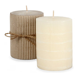 Unscented Rustic Layered Ivory Pillar Candle - Set of 6 - Nothing invites just the right ambiance like the soft flicker of pillar candles perfectly setting the mood for a casual night in or a night of entertaining your most beloved guests. Whether used to fill the perfect lantern, placed upon large baroque candlestick or used in a grouping within a large glass hurricane, Fume pillar candles are the ideal finishing touch to any decorated space. Made with high quality, clean burning, long lasting, unscented wax and sold in multiples, these candles always seem to be in need.