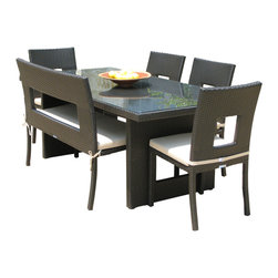 MangoHome - Outdoor Patio Wicker Furniture All Weather 6-Pc Dining Table Chair & Bench Set - Outdoor Patio Wicker Furniture New All Weather Resin 6-Piece Dining Table Chair & Bench Set