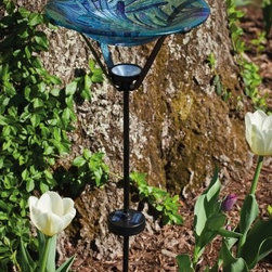 Evergreen Enterprises - Glass birdbath with Solar Stake, Floral Burst - Solar Glass Birdbath Stake, Includes 2-piece metal stake.