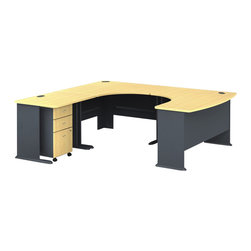 BBF - Bush Series A 4-Piece U-Shape Left-Hand Computer Desk in Beech - Bush - Office Sets - WC14366PKG1 - Bush Series A  3 Drawer Mobile Vertical Wood File Storage Cabinet in Beech and Gray (included quantity: 1) Put your files in good hands with the Bush Series A Collection Three Drawer File Cabinet, a subtle solution which fits easily under virtually any desk. This classy filing cabinet stands nicely on its own and will excellently complement other Bush Furniture pieces.  Features: