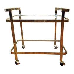 Brass Bar Cart by Milo Baughman - Dimensions 30.0ʺW × 19.5ʺD × 28.5ʺH