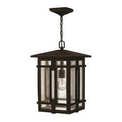 Hinkley Lighting - Hinkley Tucker Oil Rubbed Bronze Outdoor Pendant Light - Tucker is a study in symmetry with clear geometric lines and proportions reinforced throughout its cast aluminum construction. The sturdy Oil Rubbed Bronze finish and clear seedy glass inspire a rustic lodge aesthetic.Under four generations of family leadership Hinkley Lighting has transformed from a small outdoor lantern company to a global brand intent on bringing you the best in style quality and value. LIFE AGLOW: That's their mantra and they take it seriously. By welcoming their products into your home they become part of your family's everyday life illuminating small moments and big occasions. They understand your home is so much more than a physical place. It's an emotional space designed by you so they are committed to keeping your 'Life Aglow' with stylish state-of-the-art lighting. Their products are the ultimate combination of style and substance. They are constantly developing new technologies to make their fixtures even more energy efficient. Hinkley recently upgraded their LED to cutting-edge high lumen output integrated solutions and they give you hundreds of energy-efficient styles to choose from. Even their Cleveland-based world headquarters employs high energy saving standards with low VOC materials and a variety of eco-smart applications into the design to make an earth-friendly work environment for their Hinkley family. Hand crafted fixtures luxe finishes artistic details and quality materials go into the design of every product they make. They embrace the philosophy that you can merge together the lighting furniture art and accessories you love into a beautiful environment that defines your own personal style.