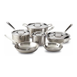 All Clad - All Clad d5 Brushed SS Cookware Set, 10 pc. - d5s patented inner core of premium stainless guarantees more even heating performance over traditional cookware, virtually eliminating hot spots while achieving a new level of stability that is optimised for induction cooking and improves performance on all hob surfaces. Years in development, stainless with patented d5 technology sets a new standard in culinary excellence. The patented stainless core significantly improves stability to prevent warping and maximises the thermal conductivity of aluminium.