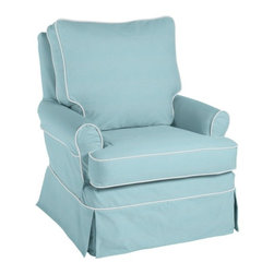 Hayes Glider, Pale Aqua Twill With White Twill Piping - This glider is so pretty that I think I'd add it to a corner in a living room for a soothing place to read a book.