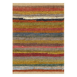 Rugsville - Rugsville Rug Stripes 13612-23 Multi - Durable as they are striking in design, the Kilims Collection of jute rugs are meticulously made by hand-weaving leather strips as the weft of the rug and a fine cotton strand as the warp, resulting in a beautiful, rustic texture and interesting natural braided pattern. Add the smell and feel of real jute to any room with this rich many colors hand woven jute rug.