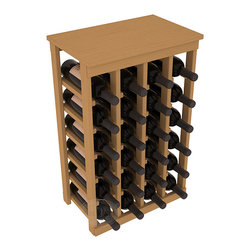 24 Bottle Kitchen Wine Rack in Pine with Oak Stain - Petite but strong, this small wine rack is the best choice for converting tiny areas into big wine storage. The solid wood top excels as a table for wine accessories, small plants, or whatever benefits the location. Store 2 cases of wine in a space smaller than most televisions!