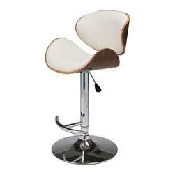 Pastel - 33 in. Hydraulic Lift Barstool in Ivory - The Jordana barstool is a beautifully made with a simple yet elegant design that is perfect for any decor. An ideal way to add a touch of modern flair to any dining or entertaining area in your home.