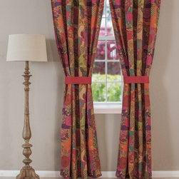 None - Jewel Cotton Tab Top Curtain Panel Pair - This global fusion curtain panel pair features a stylized floral and fruit print in bright jewel tones. Retro-modern styling reverses to a coordinating solid color,and comes lined for better light insulation,complete with two 24-inch long cloth ties.