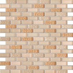 Vintrav Corn Silk 1/2 in. x 2 in. Glass Mosaic Tiles, Sample - Vintrav Corn Silk 1/2 in. x 2 in. Glass Mosaic Tiles for Bathroom Floor, Kitchen Backsplash, unmatched quality.
