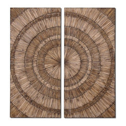 Uttermost - Lanciano Wood Chip Wall Art Panels, Set of 2, 24x52 - Lanciano  panels  crafted  from  thousands  of  wood  chips  circulating  out  from  a  center  point.  Stylish  wall  art  with  contrasting  tones  of  wood  mimics  a  unique,  target  formation  that  will  create  interest  and  texture  on  an  otherwise  boring  wall  space.  Let  the  beauty  and  the  design  of  Lanciano  draw  you  in.