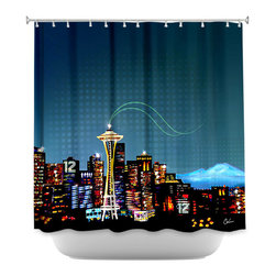DiaNoche Designs - Shower Curtain Artistic Seattle Skyline Sports - DiaNoche Designs works with artists from around the world to bring unique, artistic products to decorate all aspects of your home.  Our designer Shower Curtains will be the talk of every guest to visit your bathroom!  Our Shower Curtains have Sewn reinforced holes for curtain rings, Shower Curtain Rings Not Included.  Dye Sublimation printing adheres the ink to the material for long life and durability. Machine Wash upon arrival for maximum softness on cold and dry low.  Printed in USA.