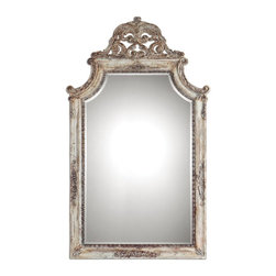 "Carolyn Kinder - Carolyn Kinder Portici Rectangular Mirror X-61590 - Frame Features A Heavily Antiqued Ivory Finish With Distressing And A Rotten-stone Glaze. The Shaped Mirror Features A Generous 1 1/4"" Bevel."