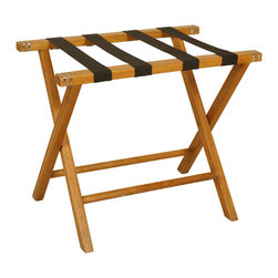 Welcome Home Accents - Oak Luggage Rack - Classic luggage rack features straight wood legs and arms.  Finished in Oak with black fabric straps and polished nickel banding.  Folds for easy storage when not in use.  Perfect for a guest bedroom.  Dust with a dry cloth.