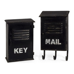iMax - iMax Alastor Key and Mail Boxes, Set of 2 - Inspired by industrial loft decor, the Alastor Key and Mail Boxes provide convenient small storage and vintage appeal.