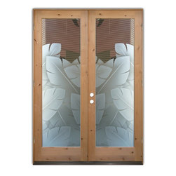 """Glass Front Entry Doors - Frosted Obscure Etched Glass - Banana Leaves 3D Knotty - Glass Front Doors, Entry Doors that Make a Statement! Your front door is your home's initial focal point and glass doors by Sans Soucie with frosted, etched glass designs create a unique, custom effect while providing privacy AND light thru exquisite, quality designs!  Available any size, all glass front doors are custom made to order and ship worldwide at reasonable prices.  Exterior entry door glass will be tempered, dual pane (an equally efficient single 1/2"""" thick pane is used in our fiberglass doors).  Selling both the glass inserts for front doors as well as entry doors with glass, Sans Soucie art glass doors are available in 8 woods and Plastpro fiberglass in both smooth surface or a grain texture, as a slab door or prehung in the jamb - any size.   From simple frosted glass effects to our more extravagant 3D sculpture carved, painted and stained glass .. and everything in between, Sans Soucie designs are sandblasted different ways creating not only different effects, but different price levels.   The """"same design, done different"""" - with no limit to design, there's something for every decor, any style.  The privacy you need is created without sacrificing sunlight!  Price will vary by design complexity and type of effect:  Specialty Glass and Frosted Glass.  Inside our fun, easy to use online Glass and Entry Door Designer, you'll get instant pricing on everything as YOU customize your door and glass!  When you're all finished designing, you can place your order online!   We're here to answer any questions you have so please call (877) 331-339 to speak to a knowledgeable representative!   Doors ship worldwide at reasonable prices from Palm Desert, California with delivery time ranges between 3-8 weeks depending on door material and glass effect selected.  (Doug Fir or Fiberglass in Frosted Effects allow 3 weeks, Specialty Woods and Glass  [2D, 3D, Leaded] will require approx. 8 w"""
