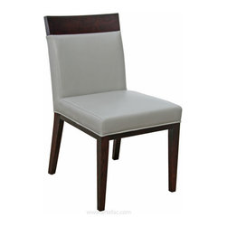 ARTEFAC - 2 - Top Grain Leather Dining Chair in Cream or Grey, Grey - This stylish and sophisticated dining chair is 100% genuine cow hide top grain leather, kiln dried solid hardwood frame in espresso color, High Density Foam with Pirelli straps. fully assembled, made for commercial and residential use. Set of 2.