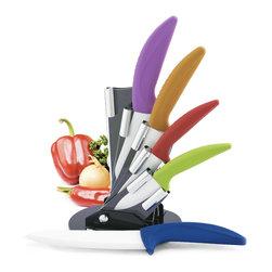 Ryo Saku - Premium Multi-Color Ergonomic Handle 5 Piece Ceramic Knife Set w/ Modern Block - -Ultra sharp blades hold their edge 10 times longer than traditional steel knives.