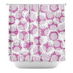 DiaNoche Designs - Shower Curtain Artistic - Violet Floral Blossoms - DiaNoche Designs works with artists from around the world to bring unique, artistic products to decorate all aspects of your home.  Our designer Shower Curtains will be the talk of every guest to visit your bathroom!  Our Shower Curtains have Sewn reinforced holes for curtain rings, Shower Curtain Rings Not Included.  Dye Sublimation printing adheres the ink to the material for long life and durability. Machine Wash upon arrival for maximum softness. Made in USA.  Shower Curtain Rings Not Included.