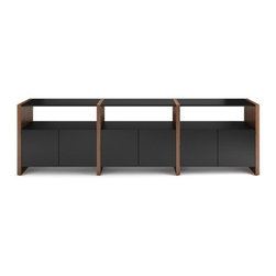 BDI - BDI | Semblance Storage Package 5453-EG - The Semblance Storage Package 5453-EG offers a low profile and plenty of concealed storage. Featuring 3 double-width cabinets and double-width shelves this storage system this arrangement can double as a console table or buffet. The Semblance Modular Storage System offers customizable storage solutions. By combining richly finished vertical wood panels with unique glass shelves, storage cabinets, and other components in a variety of flexible, pre-configured packages, there is an answer for virtually any storage dilema. Use the system to create room dividers, an impressive home entertainment system or the ideal office. The micro-etched glass shelves and cabinet doors are resistant to fingerprints and have a luxurious feel. Semblance integrates the desire for display and storage space with the demands of workspaces and technology to create a handsomely designed solution. Product Features:  Micro-etched, tempered glass cabinet doors with soft-closed hinges Micro-etched, tempered glass shelves Machine threaded inserts in the vertical panels allow for easy adjustments Cabinets contains 1 adjustable shelf Steel shelf supports Integrated levelers Richly grained natural hardwood veneered vertical panels 3- Double-width cabinets with 2 adjustable shelves 3 - Double-width shelves 1 - End panel set 2 - Divider panel