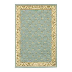Karastan - Karastan Sierra Mar 35505-33012 (Marie Louise Robins Egg) 8' x 10' Rug - Comfortable, weathered, easy to live with color, is the signature style of the Sierra Mar collection, with relaxed patterns that complement both traditional and modern design. Woven in the U.S.A., the pure New Zealand worsted wool yarns have been specially twisted and space-dyed to create artful color 'stria' reminiscent of fine hand woven 'Peshawar' rugs.