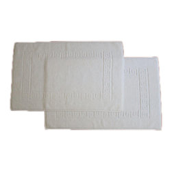 None - Authentic Hotel & Spa Greek Key Turkish Cotton Bath Mats (Set of 2) - This lavish, 100 percent Turkish cotton white bath mat set brings five-star luxury from the hotel or spa to your home. This mat set is very absorbent and ultra-soft. The set features two matching mats measuring 20 inches long by 32 inches wide.