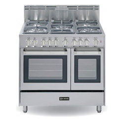 "Verona - VEFSGG365DSS 36"" Freestanding Double Oven Gas Range with 5 Sealed Burners  2.4 c - 36 Double Oven Gas Range 5 Sealed Gas Burners 24 cu ft Oven Capacity Storage Drawer Electronic Ignition 2 Turbo-Electric Convection Fans"