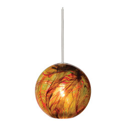 FJ Paperweight Pendant by LBL Lighting - FJ Paperweight pendant is a crystal blown sphere shaped glass with flowing swirls of color. Glass available in amber, blue, or opal. Finish available in satin nickel or bronze. Includes 6 feet field cuttable suspension cable. Canopy sold separately. One 50 watt, 12 volt, T5 GY6.35 Xenon lamp, included. ETL listed.