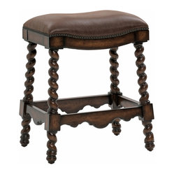 Ambella Home - Coventry Counter Stool, Dark Leather - Twisted legs, an ornate carved frame and luxurious leather seat create a one-of-a-kind seat in your home. In your kitchen or game room, this comfortable counter stool invites your guests to take a seat and get in on the action.