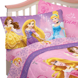 Franco Manufacturing - Disney Princesses Full Bed Sheets Glamour Bedding - Features: