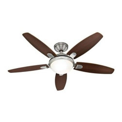 Hunter - Indoor Ceiling Fans: Hunter Contempo 52 in. Indoor Brushed Nickel Ceiling Fan 59 - Shop for Lighting & Fans at The Home Depot. This contemporary Hunter 52 in. Ceiling Fan features a brushed nickel finish with a white glass dome light. The 5 blades are reversible from dark walnut to English cherry. This fan is for a large room of up to 20 ft. x 20 ft.