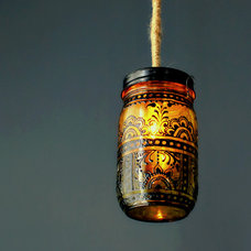 Pendant Lighting Hand Painted Mason Jar Lantern, Canary Yellow Tinted Glass with Black Accents