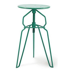 Danish Modern Adjustable Height Bar Stool, Turquoise