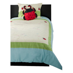 Rizzy Home - Ladybug Green Twin Size Kids Comforter Bed Set - It can be spring everyday with this whimsical bedding collection that features custom embroidered butterflies and lady bugs in a rainbow of hues.  Set against a pale yellow background and bordered by a fresh and bold lime green gingham and cloud blue, this fanciful ensemble is topped off with an oversized ladybug pillow.