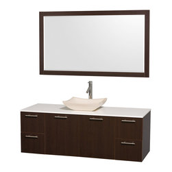 Wyndham Collection - Bathroom Vanity Set with Ivory Marble Sink in Espresso - Includes mirror, sink, drain assemblies and P-traps for easy assembly. Faucets not included. White man made stone top. Two functional doors. Four functional drawers. Plenty of storage space. Metal exterior hardware with brushed chrome finish. Single-hole faucet mount. Eight stage preparation, veneering and finishing process. Highly water-resistant low V.O.C. sealed finish. Unique and striking contemporary design. Modern wall-mount design. Deep doweled drawers. Fully extending soft-close drawer slides. Engineered for durability and to prevent warping and last a lifetime. Made from veneers and highest quality grade E1 MDF. Mirror: 58 in. W x 33 in. H. Vanity: 60 in. L x 22.25 in. W x 21.25 in. H. Care Instructions. Assembly Instructions - Vanity. Assembly Instructions - MirrorModern clean lines and a truly elegant design aesthetic meet affordability in the Wyndham Collection. The attention to detail on this elegant contemporary vanity is unrivalled.