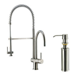 Vigo - Vigo Stainless Steel Pull-Down Spray Kitchen Faucet with Soap Dispenser - This stylish and durable faucet is sure to give your kitchen sink a new look
