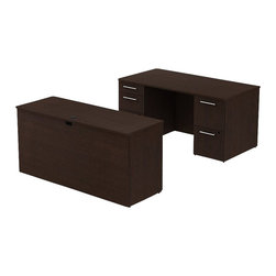 "Bush - Bush 300 Series 60"" 2-Pedestal Desk with Credenza in Mocha Cherry - Bush - Commercial Grade Office - 300S024MR - Set up your office practically anywhere with the BBF Mocha Cherry 300 Series 60""W x 30""D Double Pedestal Desk and Credenza. Smaller top surface still offers plenty of workspace and drawer storage. The 66""W desktop sits upon two pedestals with five drawers, both B/B/F and F/F. Holds all necessary papers and documents accommodating letter- legal or A4-size files. Two box drawers keep office supplies handy. All drawers, on full-extension ball bearing slides, open completely allowing easy access to back. Wire grommets control unsightly cords and cables, keeping desk and credenza surfaces clutter-free. Credenza complements the desk and offers additional storage at your fingertips. Rich, Mocha Cherry finish makes an executive statement. Total configuration flexibility lets you outfit any-size office space. Tough, rugged work surfaces resist scratching, stains, dings and dents, looking good for years. Includes BBF Limited Lifetime warranty."