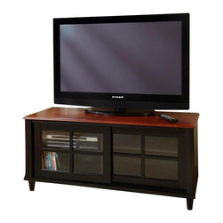 Convenience Concepts - French Country TV Cabinet w Sliding Doors (Ch - Color: Cherry and BlackAdjustable height shelf. Tempered glass sliding doors. Solid rubber wood legs. Top, apron and shelf are made from MDF with oak veneer. Assembly required. 48 in. W x 20 in. D x 22 in. H (94.6 lbs.)Matches other items in French Country Collection.
