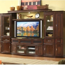 Cantata 4 Piece Entertainment Wall Unit with 60 in. TV Console - Espresso - The transitional design of the Cantata 4 Piece Entertainment Wall Unit with 60 in. TV Console in espresso lets you enhance the look of your media and decorative items while providing the perfect place for enjoying your favorite movies and games. This beautiful unit is crafted from quality wood and veneers with an espresso finish. It features a center console with glass front doors for component storage as well as side cabinets with enclosed storage for media and games. This console also features an interior cooling system to keep your components cool and wire management holes to keep your cables neat and organized. Side piers provide even more storage behind lower cabinets and ample shelving space. Cabinetry doors offer storage while adjustable glass shelves provide display space behind glass doors. Interior illumination puts a spotlight on all your treasured items. A top bridge provides more display options and additional illumination. About Whalen FurnitureKnown for its signature-quality construction and rich style Whalen Furniture manufactures a variety of home entertainment and home office products. Several Whalen family brands contribute to Whalen's mix of traditional designs and modern innovations. Function plays a key role in every piece but it balances wisely with time-tested craftsmanship. Whalen's quality manufacturing process begins with solid wood materials and durable construction techniques and it ends with multi-step finishes and practical features that support modern technology and today's integrated lifestyles.