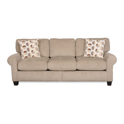 SOFAB - Malibu Beige Upholstered Sofa - The Malibu is a revolutionary sofa upholstered in a luxurious, driftwood-colored fabric that blends with any decor. This sofa looks great and is extremely comfy, featuring a durable construction and a brown cherry wood finish.