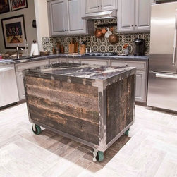 Kitchen Island - Rolling Reclaimed Oak - Not your typical kitchen island.  With Steel Casters, this island is fully mobile.  It is made with reclaimed oak, a steel frame, has two soft close drawers, and topped with a marble slab.