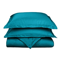800 Thread Count Full/Queen Duvet Cover Set Solid Cotton Rich - Teal - Dress up your bedroom decor with this luxurious 800 thread count Cotton Rich duvet cover set. A superior blend of materials makes these duvets soft, easy to care for and wrinkle resistant.