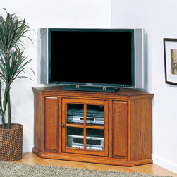 """Leick - Riley Holliday 47"""" Corner TV Stand - This 46'' wide Corner TV Console settles your TV back into the corner and reclaims valuable floorspace. Holding popularly sized TV's up to 45''. Multiple components store behind glass and away from dust and assembles easily in minutes. Features: -One adjustable component shelf behind tempered glass door.-Perforated back for wire management.-Holds TV's up to 50''.-Riley Holliday collection.-Distressed: Yes.-Collection: Riley Holliday.Specifications: -Sturdy 240 lb weight bearing capacity.Dimensions: -Component opening dimensions: 17.375'' H x 18'' W.-Overall Product Weight: 75 lbs.Warranty: -Manufacturer provides one year warranty against manufacturing defects from the date of purchase."""